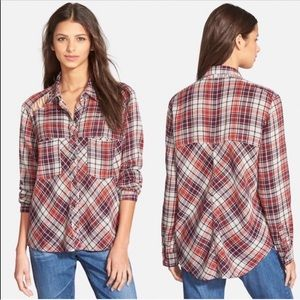 Free People Plaid Button Down Shirt with Cutouts